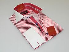 Mens AXXESS Wrinkle Free Cotton Shirt High Spread Collar 216-35 Red White Polka