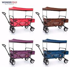 Outdoor Sports Collapsible Folding Wagon with Canopy Family Kid Shopping Cart
