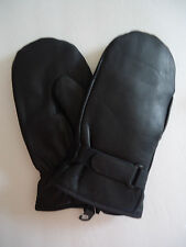 Swiss Genuine Leather Ski Finger Mittens, L/XL Black