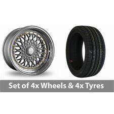 """4 x 17"""" Dare DR-RS Silver Gold Rivets Alloy Wheel Rims and Tyres -  245/45/17"""
