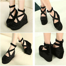 NEW Womens Platform Shoes Wedge High Heels Ankle strap Sandals Cute Muffin Boots