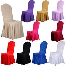 Dining Room Wedding Banquet Stretch Chair Covers Pleated Pendulum Seat Cover New