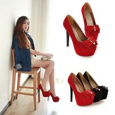 Fashion Women Bow Tie Platform High Heel Court Pumps Ladies Shoes