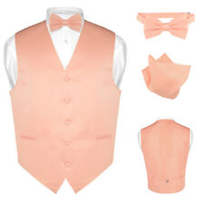 Men's Dress Vest BOWTie PEACH Color Bow Tie Set for Suit or Tuxedo