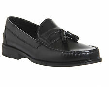 Mens Ask the Missus Bonjourno Tassle Loafers BLACK LEATHER BLACK SOLE Casual Sho
