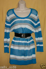 Joseph A womens turquoise white gray striped tunic 3/4 knit sweater top M L $68