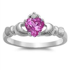 Irish Claddagh Ring 925 Sterling Silver Rose Pink CZ Heart Promise Ring