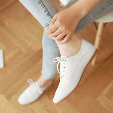 Simple Women Flat Heel Casual Shoes Lady Career Leisure Lace Up Pump Shoes Size