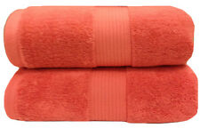 Coral 100% Cotton Solid 2PC Plush Towels, Ultra Soft Bath Sheets - Bath Towels