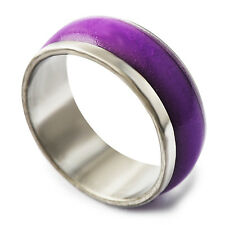 Womens Mystic White Gold Filled Smooth Mood stone vintage Band Ring Size5-8 &10
