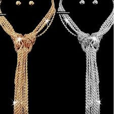 GOLD SILVER Diamond Cut Multi ROPE KNOT Chain Statement Long Necklace Earrings