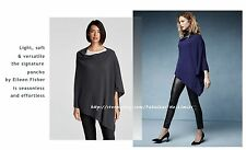 NWT Eileen Fisher Fine Merino Wool Links Wool Poncho Charcoal Midnight Blue O/S