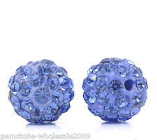 Wholesale Lots Lightblue Rhinestone Round Polymer Clay Ball Beads 10mm Dia