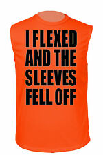 MEN'S ATHLETIC SLEEVELESS SHIRTI Flexed and the Sleeves Fell Off  DRI FIT FUNNY