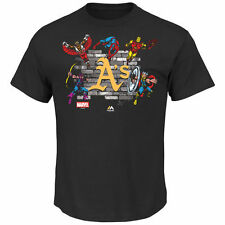Oakland Athletics Majestic Marvel Fans Assemble T-Shirt - Black - MLB