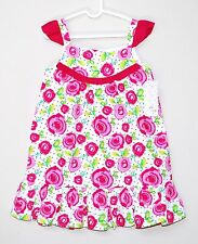 $42 LILYBIRD Classic Floral Dress Roses White Pink Cotton Girls Size 4 & 6 NEW !