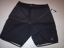 New Volcom solid black charcoal gray board shorts swim 28 30 31 32 33 34 36