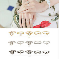5PCS Gold Plated Fashion Punk Crystal Rhinestone Pearl Finger Rings Hot Jewelry