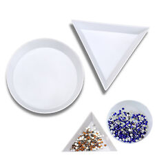 10 WHITE PLASTIC TRIANGLE ROUND RHINESTONES BEADS CRYSTAL NAIL ART SORTING TRAYS