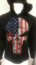 USA Flag Punisher skull Hoodie Sweat Shirt NWT Police Law Enforcement