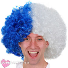 BLUE AND WHITE AFRO WIG FOOTBALL LEICESTER SUPPORTERS NOVELTY FANCY DRESS CITY
