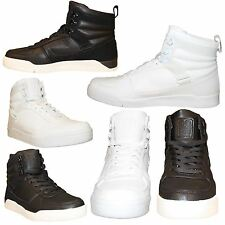 Mens Crosshatch Hi Top Shoes Trainers Classic Black White Ankle Sneakers Lace up
