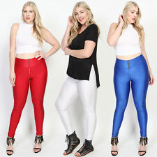 TheMogan Night Shiny Wet Look Zip Front High Waisted Stretch Leggings