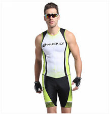 Men's Sleeveless Cycling Jersey Skinsuit Bicycle Set Triathlon Suits M-XXL Green