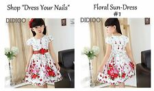 Girls Summer Party Dress Casual sundress White + Red Pink Flowers Floral Didioo