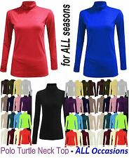 LADIES LONG SLEEVE POLO NECK ROLL TOP WOMENS   TURTLE NECK PLAIN JUMPER 'polo