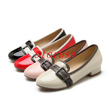 Sweet Women Low Heel Buckle Pump Shoes Girls Loafers Patent Leather All Size New