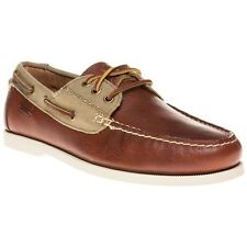 New Mens Polo Ralph Lauren Tan Bienne II Leather Shoes Boat Lace Up
