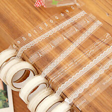 S 5xRoll DIY Washi Paper Lace Decorative Sticky Paper Masking Tape SELF Adhesive