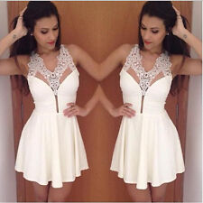 Women's White Slim Lace Sheer Sleeveless V Neck Sexy Cocktail Party Mini Dress