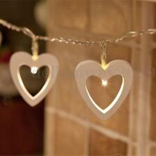 20LED Warm White String Fairy Light Wooden Heart Battery Operated Party Decor