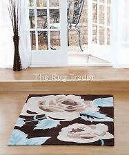 Aspire Zaire Chocolate Brown Blue Floral Design Luxury Rug in various sizes