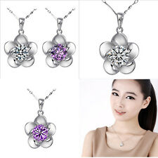 Charming Crystal Stone Inlay Silver Flower Pendant Women's Necklaces Crystal