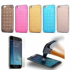 iPhone 6 6s Plus 5s 5c Silicone Gel Shockproof Case Cover Tempered Glass Screen