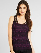 Summer Black Lace Top Purple Camisole Vest T Shirt Top Party Figleaves V Sizes