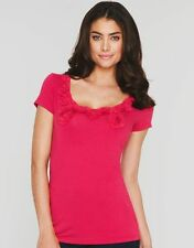 Summer Ladies Red Berry Short Sleeve Scoop Neck T Shirt Top Womens V Sizes NEW