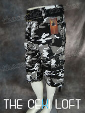 NEW Mens M.O.F. CAMO CARGO SHORTS in BLACK & GRAY (CITY) CAMO With Free Belt