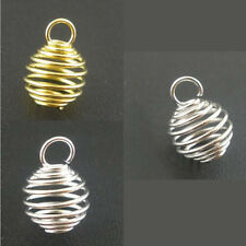 DIY Pendants Charms Breloque Drop Spiral Spring Bead Cages Jewelry Making 8x9mm