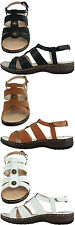 Ladies GLUV Leather Sandals Touch Fastening Back Strap Atlas in Black Tan White