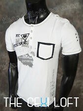 BRAND NEW Mens CARDINALI Modern Contemporary Sport T-Shirt White w Stitched Trim