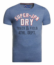 New Mens Superdry Factory Second Track And Field T-Shirt Denver Blue Grit