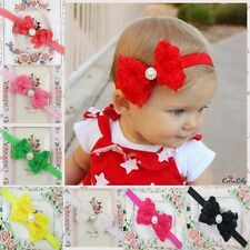 Sale Baby Girls Kids Pearl Headband Rose Bow Lace Flower Elastic Hairband Lovely