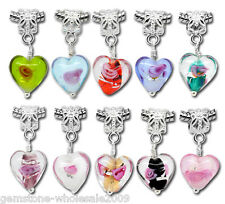 Wholesale Lots Mixed Glass Heart Dangle Beads Fit Charm Bracelet B09908