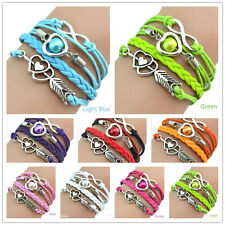Hot-sale Infinity Love Heart Friendship Antique Silver Leather Charm Bracelet