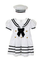 Infant Toddler Girl Navy Sailor Wedding Party Satin Dress Outfit Sz S-XL 2T-4T 1