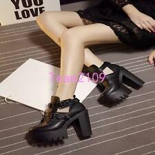 Women Black Punk Gothic Buckle Strap Chunky Heel Platform Ankle Boots Shoes